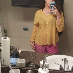 Love Culture yellow laced back loose button down